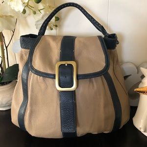 Cole Haan Beige & Blue Leather Hobo Bag